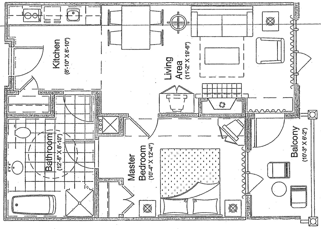 Floor Plan Of 1 Bedroom Patio Valley View